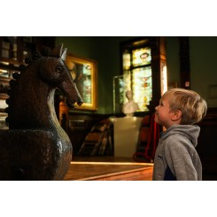 Wooden Horse and Boy Smiling