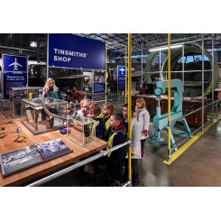 Aircraft-Factory-tinsmith-shop-demonstration-kids-school-group